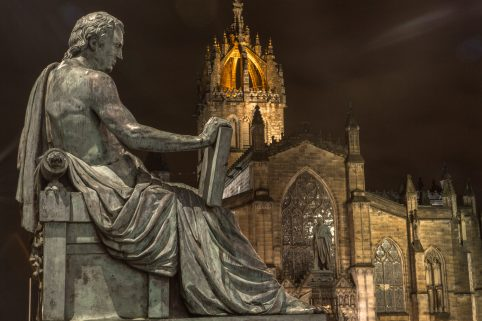 David Hume statue and St Giles Cathedral, High Street copy